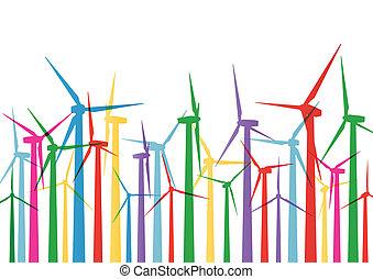 detaljerad, vindmotorer, ekologi, färgrik, elektricitet, ...