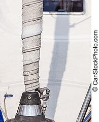 detaljeret, afsejlingen, dæk, udrustning, closeup, skib
