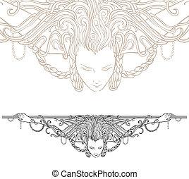 detaljeret, art-nouveau, ornamental, divider