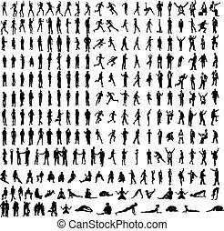 detaljeret, dansere, yoga, meget, mange, firma, silhuetter, heriblandt, osv..
