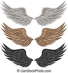 detaljeret, fugl, vinger