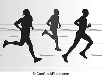 detaljeret, kvinde, illustration, maraton, aktiv, løbere, ...