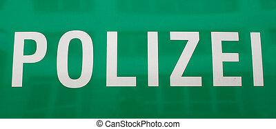 detaljeret, politi, tysk vogn, tekst, udsigter