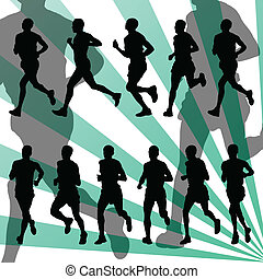 detaljeret, vektor, maraton, baggrund, aktiv, løbere