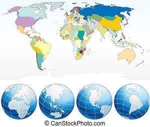 detaljeret, verden kort