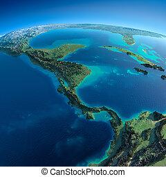 detallado, américa, central, earth.the, países