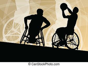 detallado, baloncesto, silueta, sílla de ruedas, hombres,...