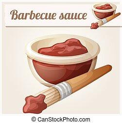 detallado, barbacoa, sauce., vector, icono
