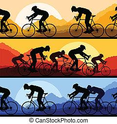 detallado, bicycles, siluetas, bicicleta, deporte, jinetes,...