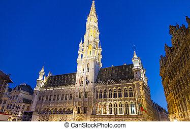 detallado, bruselas, shot), lugar, magnífico, bélgica, (night, vista