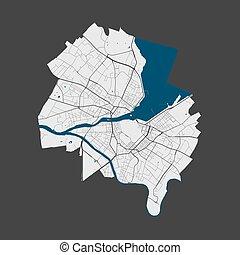 detallado, cartel, calles de ciudad, map., water., ginebra, mapa