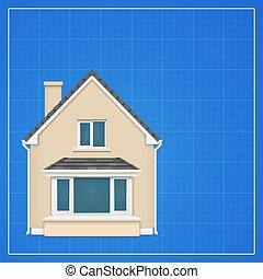 detallado, cianotipo, arquitectura, plano de fondo, casa