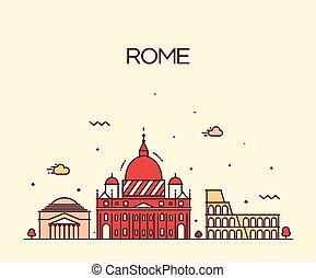 detallado, ciudad, estilo, arte, roma, contorno, vector,...