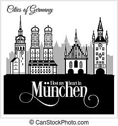 detallado, ciudad, illustration., architecture., munchen, -, vector, moderno, germany.