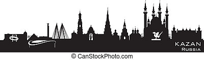 detallado, ciudad, silueta, kazan, contorno, rusia