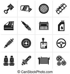 detallado, coche, partes, iconos