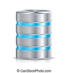 detallado, concepto, red, base de datos, cromo, duro, aislado, Ilustración, muy, blanco, computadora, Disco, plata, icono, reserva, disco,  metal,  vector