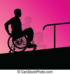 detallado, concepto, silueta, escalera, sílla de ruedas, hombres, joven, ilustración, incapacitado, vector, salud, plano de fondo, activo, pasos, cuidado