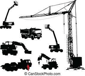detallado, constructio, siluetas