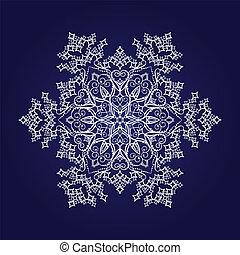 detallado, copo de nieve blanco, en, azul