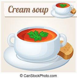detallado, crema, vector, soup., icono