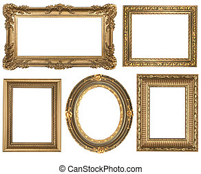 detallado, cuadrado, oro, vendimia, oval, marcos, picure, ...