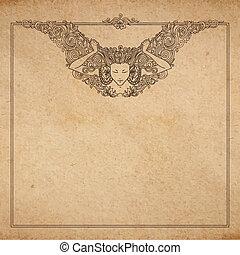 detallado, decorativo, mujer, viejo, ángel, marco, vendimia, ornamento, textura, mano, art-nouveau, papel, vector, dibujado, grabado