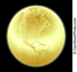detallado, dorado, hecho, norte, metálico, terreno, globo...