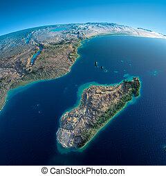 detallado, earth., madagascar, áfrica