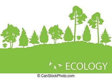 detallado, ecología, cartel, árbol, ilustración, concepto, ...