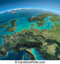 detallado, europa, earth., central