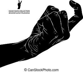 detallado, illustration., señal, mano, vector, negro, blanco, venga