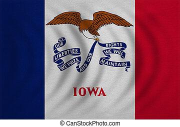detallado, iowa, tela, textura, bandera, ondulado