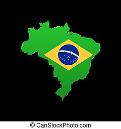detallado, mapa, bandera, brasil