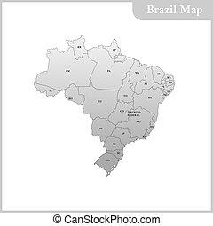 detallado, mapa, brasil