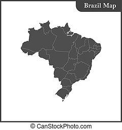 detallado, mapa, brasil, regiones