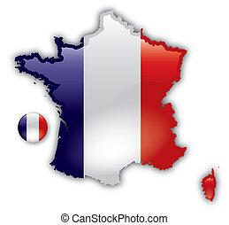 detallado, mapa, de, francia