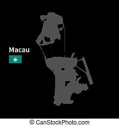 detallado, mapa, de, macao, con, bandera, en, fondo negro