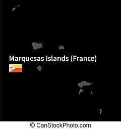 detallado, mapa, de, marquesas, islas, con, bandera, en, fondo negro