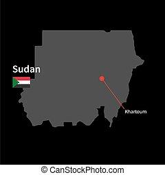 detallado, mapa, de, sudán, y, ciudad capital, khartoum, con, bandera, en, fondo negro