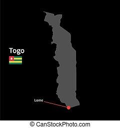 detallado, mapa, de, togo, y, ciudad capital, lome, con, bandera, en, fondo negro