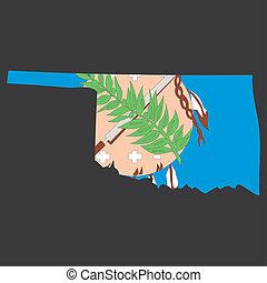 detallado, mapa, dentro, estado, muy, bandera, oklahoma