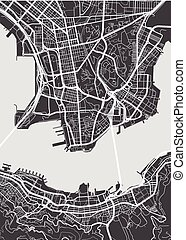 detallado, mapa, hong, vector, kong