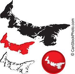 detallado, mapa, isla, edward, canadá, príncipe
