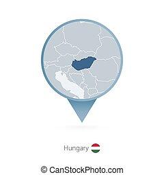 detallado, mapa patilla, vecino, countries., hungría