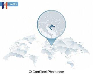 detallado, mapa, redondeado, resumen, map., fijado, croacia,...