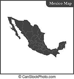detallado, mapa, regiones, méxico