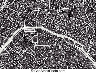 detallado, mapa, vector, parís
