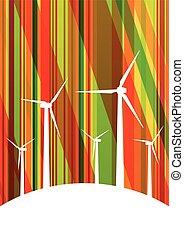 detallado, molinos de viento, ecología, colorido, electricidad, ilustración, siluetas, generadores, colección, plano de fondo, viento
