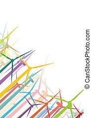 detallado, molinos de viento, ecología, colorido, electricidad, ilustración, siluetas, vector, generadores, colección, plano de fondo, viento